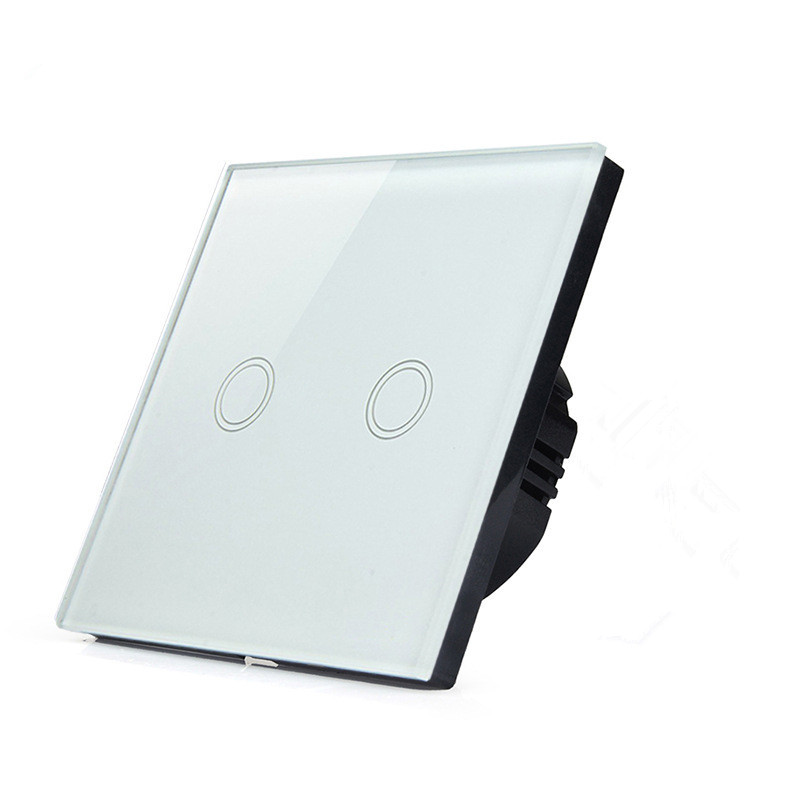 UK Standard White 2 Gang Wall Light Touch Screen Switch Home Automation English Version SKU: 5582<br>