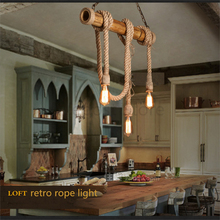 DIY Loft Personality Rope Pendant Lights Retro Vintage Restaurant Lamp Dining room pendant lamps E27 hemp rope light