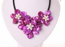classic white baroque freshwater pearl purple shell flower leather necklace Factory Wholesale price Women Gift word Jewelry