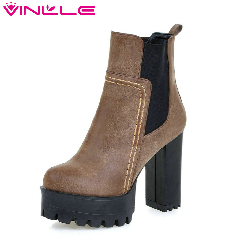 VINLLE Women Boots Square High Heel Western Style Elastic Band Solid Ankle Boots Round Toe Platform Ladies Boots Size 34-43<br>