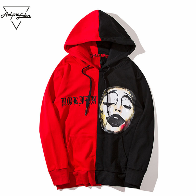 Aelfric Eden Men Hoodies 2018 Fashion Spring Clown Print Hoodie Sweatshirt Black Red Splice Sweatshirts Hip Hop Streetwear OF012