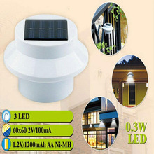 LED Solar Light Outdoor Solar Power 3 Led Bulds High Brightness Waterproof Garden Fence Yard Wall Gutter Pathway Lamp