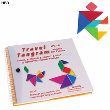 1Set 150 Puzzles Magnetic Tangram Magic Book Kids Child Educational Toys Gifts  #T026#