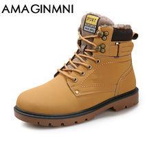 2018 New Super Warm Men's Winter Pu Leather Ankle Boots Men Autumn Waterproof Snow Boots Leisure Martin Autumn Boots Shoes Mens(China)