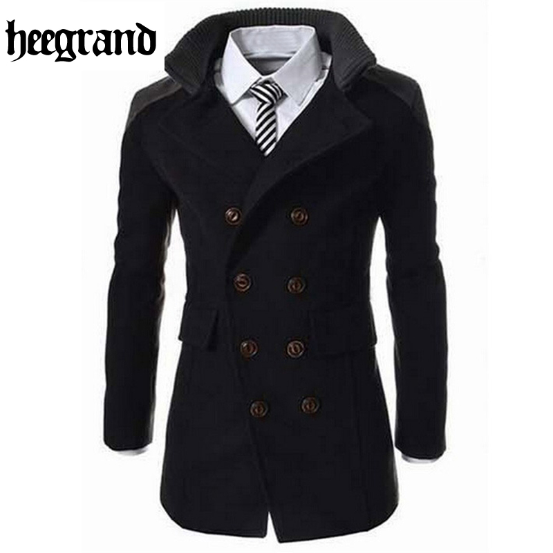 HEE GRAND 2016 Fashion Men's Autumn Winter Coat Turn-down Collar Wool Blend Men Pea Coat Double Breasted Winter Overcoat MWN113(China)