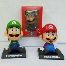 14cm Super Mario Luigi Toy Model Dolls Figma Lovely Cute Automobile Head Shaking Action Figure Model Doll