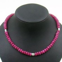 Natural Stone Classic Vintage Handcrafted Natural  Rubies Beads Necklace ( Length 45cm)