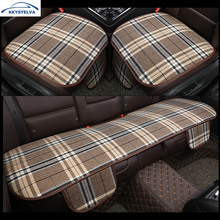 KKYSYELVA Flax Car Seat Cover Pad for most cars Universal Front Back Auto Seat Covers Black Automobiles Seat Cushion(China)