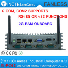 Hot supply Celeron 1037 low power Car embedded fanless IPC with onboard 2G RAM 6 COM COM2 support RS485 422 two 8111E Gigabit(China)