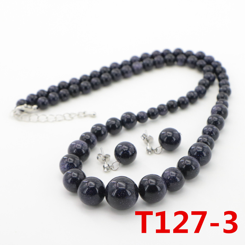 3 Natural Stone Blue Sand Beads Necklace Earring ear nail Fashion DIY Jasper Chalcedony (15)