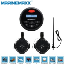 "4"" Waterproof Marine Bluetooth Stereo Motorcycle Audio MP3 Radio UTV Sound System+ 6.5"" 1Pairs Tower Wakeboard Speakers+Antenna"