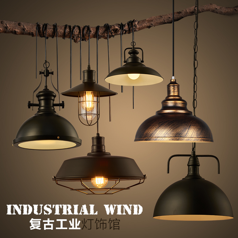 Free shipping Loft bar black iron lights american vintage indurstrial Ceiling light dining room foyer Ceiling lamps<br>