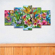 5 Panel Canvas Art Painting Artistic Colorful Flower Butterfly Prints Modular Picture Poster Artwork for Home Decor Living Room(China)