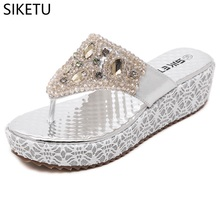 SIKETU 2018 HOT new European and American women's sandal water drill string bead and cold tow foreign trade large size shoes(China)