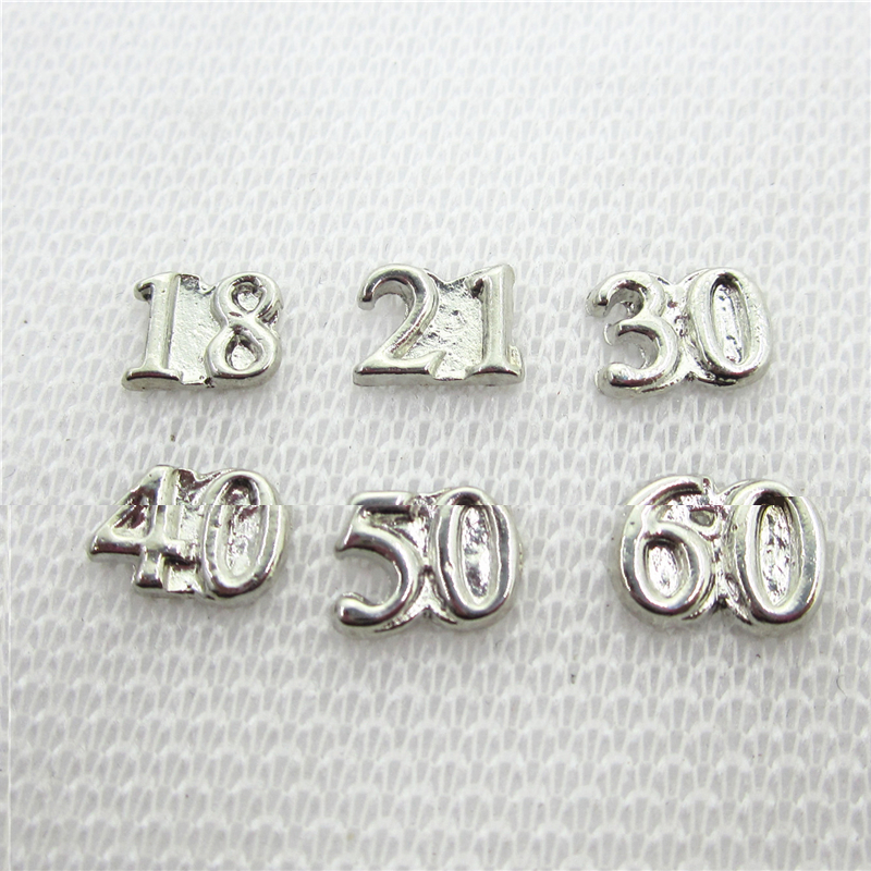 60pcs/lot Mix 18 21 30 40 50 60 number floating charms living glass memorty floating lockets pendants diy jewelry