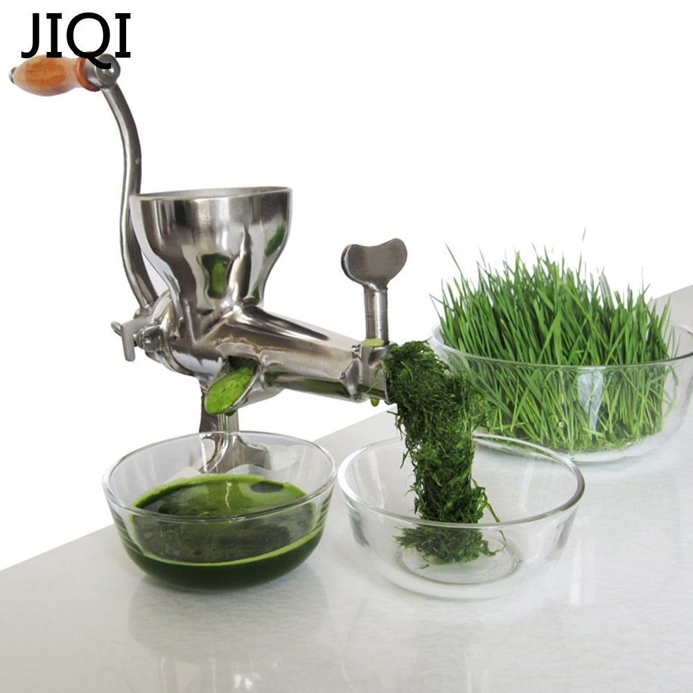 JIQI Stainless Steel Hand wheatgrass Juicer manual Auger Slow squeezer Fruit Wheatgrass Vegetable orange juice extractor machine<br>