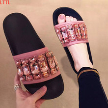 Best selling summer Women Slippers flat Heels 3 color crystal studded Mules rhinestone flip flop cozy beach Shoes Zapatos mujer