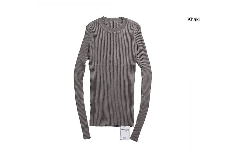 Women Sweater Pullover Basic Rib Knitted Cotton Tops Solid Crew Neck Essential Jumper Long Sleeve Sweaters Autumn Winter 17 10
