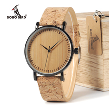 BOBO BIRD WE19 Top Quality Round Watches Bamboo Face with Stainless Steel Case Cork Leather Bands with Gift Box Drop Shipping(China)