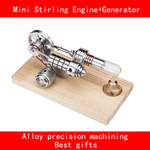 Double cylinder stainless steel aluminium alloy Precision machining mini stirling engine+Generator with LED best gifts(China)