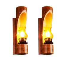 Hand-made Indoor outdoor led wall light bamboo glass shade E14 candle bulb industrial wall lamp antique sconce lights bedroom(China)