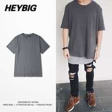 Deep Gray Skateboard Tee Casual Loose Clothing Hiphop Men Tops Street Fashion T-shirts Heybig Brand Cotton t shirt China SIZE