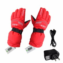 Battery Electric Rechargable Heated Gloves Winter Ski Snow Sports Hand Warmer Snowmobile Motorcycle Riding Gloves US/ EU Plug(China)
