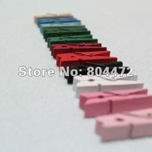 300x 10 colors MIni Wood Spring Clip Wooden Craft ClothesPins Pegs 35mm For DIY Craft | Photo Wall project Banner Clip