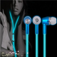 Glow In The Dark Earphones Luminous Night Light Glowing Headset In-Ear Stereo Handsfree With Mic For All Cellphone(China)