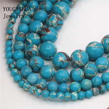 YOUCAIHUA New Arrival Wholesale blue Turkey Stone Many Sizes 4/6/8/10mm Beads Jewellery DIY Accessories Manual Women Gift 15inch(China)