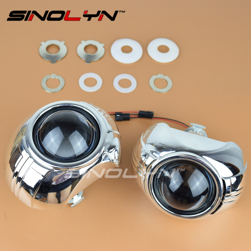 SINOLYN 2.5 HID Bi xenon Lens For the Headlight Projector Mini Lenses H1 H4 H7 W/WO Devil Smax Shrouds For Kia Rio Accessories<br>