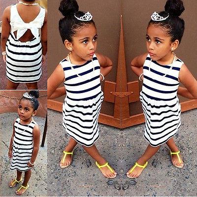 Baby Girl Striped Vest dress Bow Dress Night Toddler Clothes Sweet Kids Baby Girls Princess Back Bowknot Gauze Tutu Dress <br><br>Aliexpress