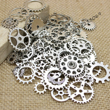 PULCHRITUDE 100PCS Mix Antique silver Charms steampunk Gear Pendant Fit Bracelets Necklace DIY Metal Jewelry Making T0124