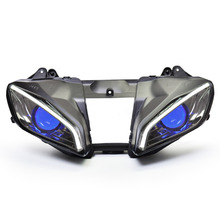 KT Headlight for Yamaha YZF R6 2006-2007 LED Optical Fiber Blue Demon Eye Motorcycle HID Projector Assembly