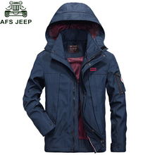 Afs Jeep 2017 Men Autumn Jacket New Casual Hooded Collar Windbreaker veste homme Plus Size M-4XL Mesh Lining Spring Coat Men