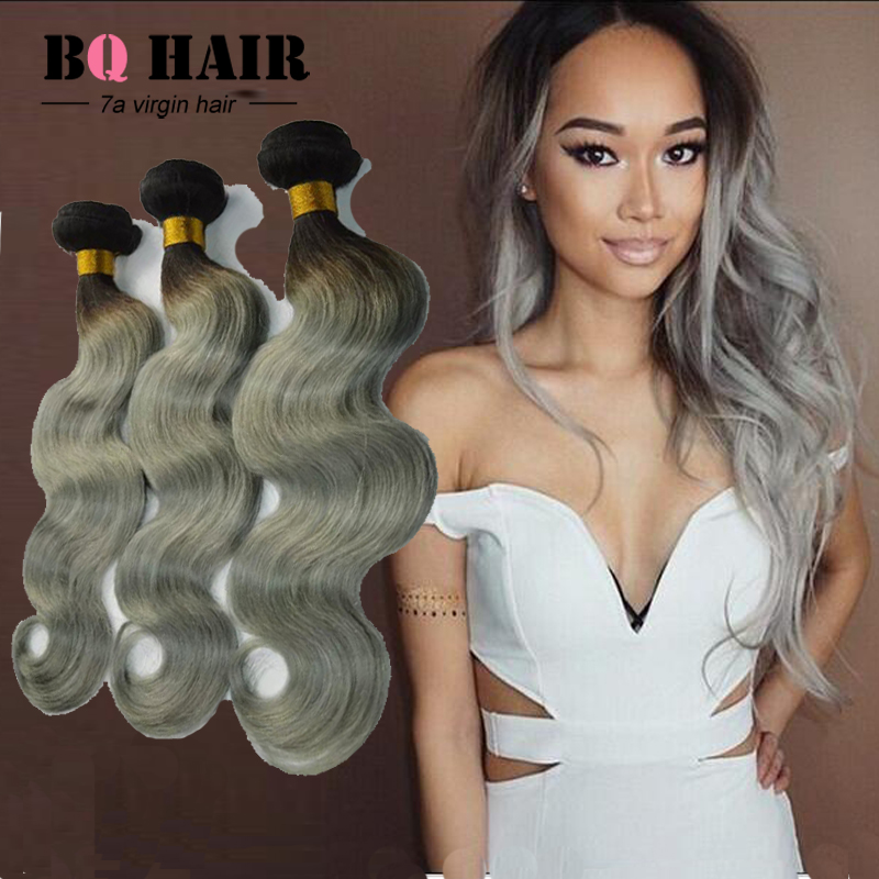 New Arrival 7A Brazilian Body Wave 4pcs Ombre Silver Grey Hair Weaving 1b/Gray Two Tone Brazilian hair Ombre Hair extensions<br><br>Aliexpress