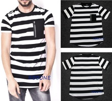 Europe and the United States hip-hop star high street stripe T-shirt male brand