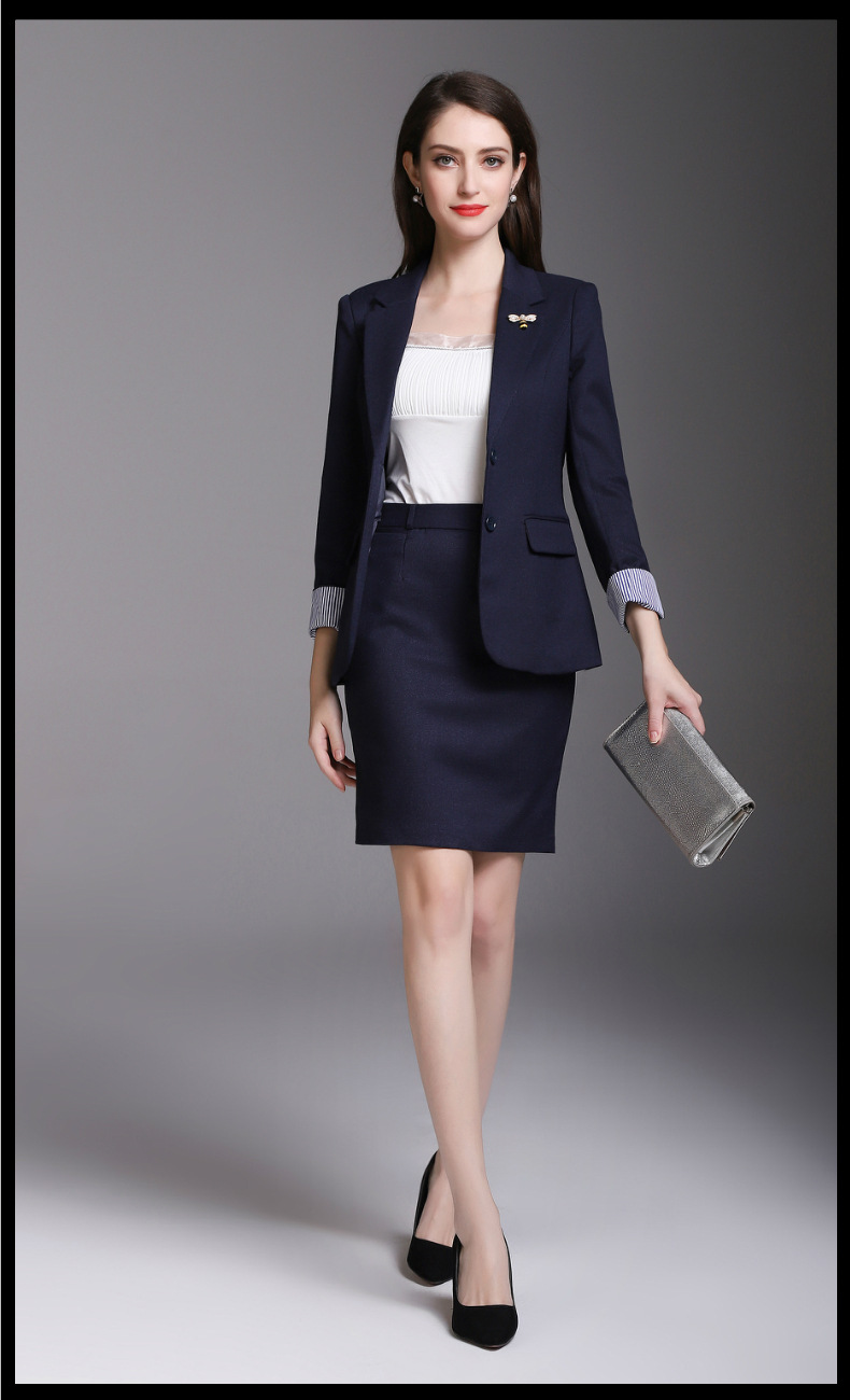 new Office Navy Cool Girl Suits Women's Skirt Suits Girl Business Work Suits Office Lady Suits Custom Made 2 Piece Jacket/Skirt