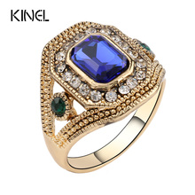 Luxury Red Rings For Women Vintage Look Antique Gold Color Mosaic Glass Crystal Jewelry Cheap Wholesale Free Shipping