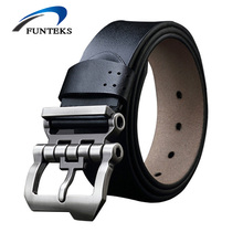 FUNTEKS2017 Brand Designer Belts Men High Quality Cow Genuine Leather Men Belt Pin Buckle Mens Belts Luxury Strap Ceinture Homme