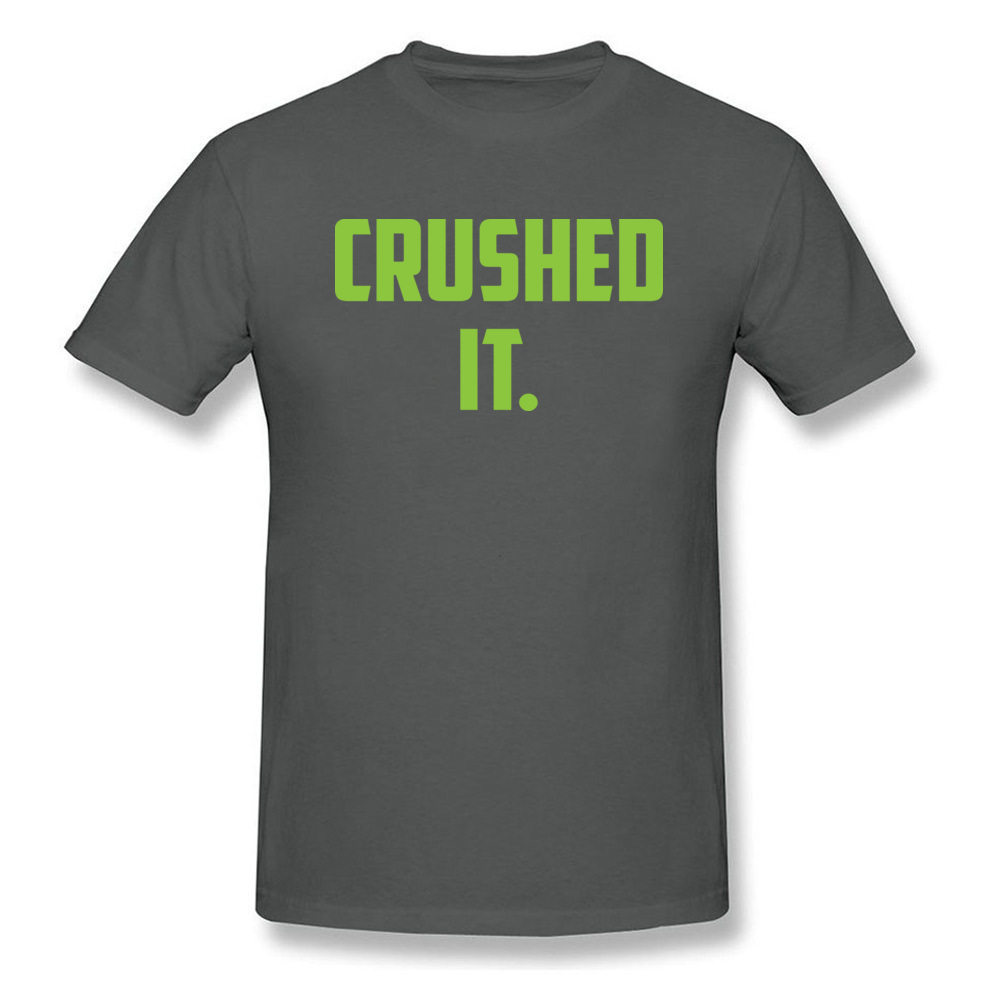 Crushed It Summer T-Shirt for Men Pure Cotton Labor Day Tops Tees Print Tee Shirt Short Sleeve Retro Round Neck Crushed It carbon