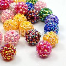 100pcs Resin Rhinestone Beads, AB Color, Round, Mixed Color/Hot Pink/ White/Gold , 12x10mm, Hole: 2mm