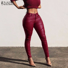 New Arrival 2016 Autumn PU Leather Trousers For Ladies ZANZEA Women Sexy Skinny Pencil Long Pants Stretch High Waist Capris