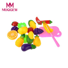 11PC children Pretned play toy Cutting Fruit Vegetable Pretend Play Children Kid Educational Toys for kids kitchen toy(China)