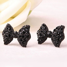 KISS WIFE 2016 New hot Fashion Simple Vintage Metal Black Butterfly Bow stud earrings lady ear jewelry for women(China)