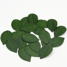 100 pieces/lot Cheap High Quality Green Artificial Plastic Silk Leaf flowers Fake Leaves For Bouquet Garland Wedding decoration