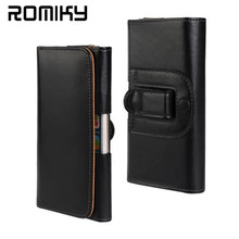 Romiky Waist belt clip Bag for samsung s8 plus J1 J2 J3 J5 J7 A3 A5 A7 S7 S6 Leather Pouch Holster for iphone 7 6s 5s 6 5 Cases