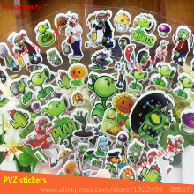 6Pcs/Lot Plants vs zombies bubble sticker,Plants vs Zombies game stickers For Kids rooms fashion decor stickers