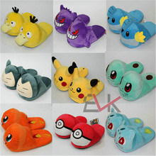 New Pocket Doll Cosplay Plush Slippers Pikachu Bulbasaur Squirtle Home Indoor Slippers Women Men Unisex Anime Halloween Slipper(China)