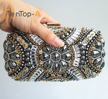 TenTop-A Women's Crystal Evening bags Retro Chain Beaded Clutch Bags Wedding Diamond Rhinestone Small Shoulder - raphaella lai's Sexy store